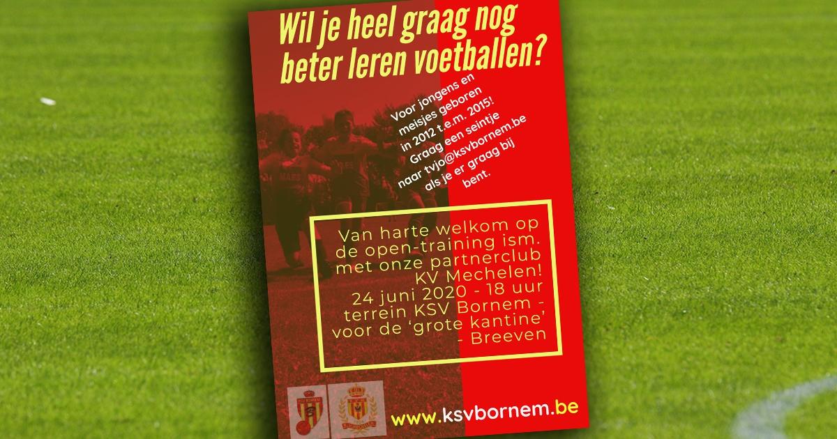 Open-training jeugd op 24 juni ism. KV Mechelen
