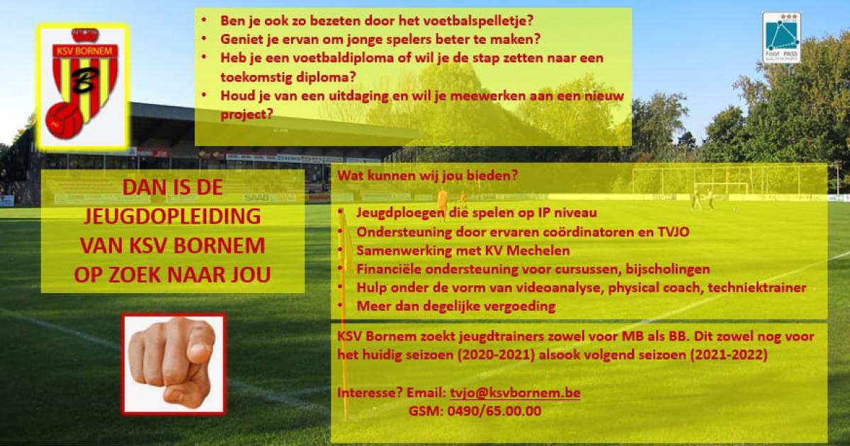 KSV Bornem zoekt jeugdtrainers